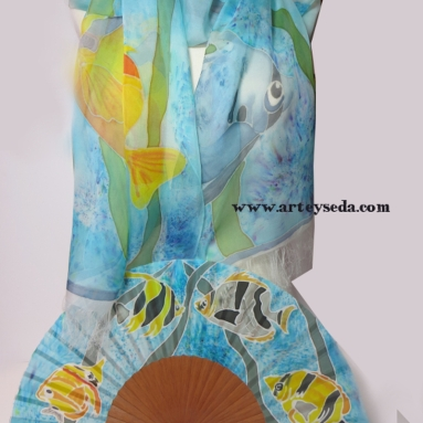 Tropical Reef (2), Hand painted silk scarf and fan by Arte y Seda (1433)