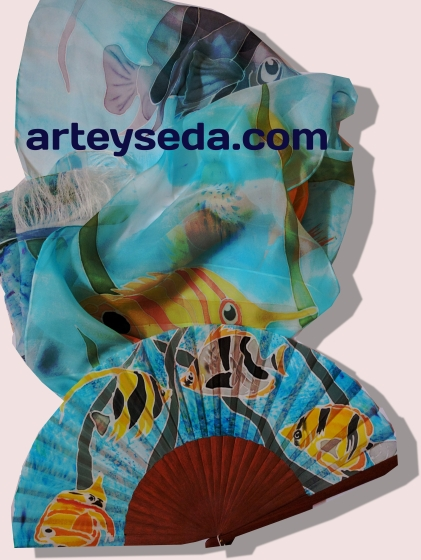 Reef, Hand painted silk scarf with coordinate fan by Arte y Seda (1429)