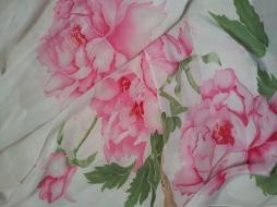 Pink peonies Hand painted silk scarf ARTE Y SEDA
